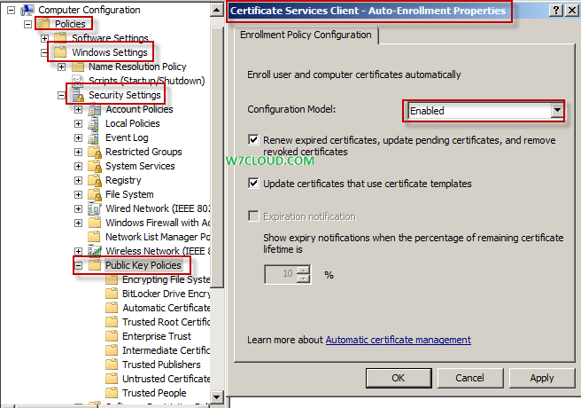 Auto enrollment of computer certificate networking virtualization certificate services client enabling autoenrollment then from automatic certificate request under computer configurationpoliciessecurity yelopaper Image collections