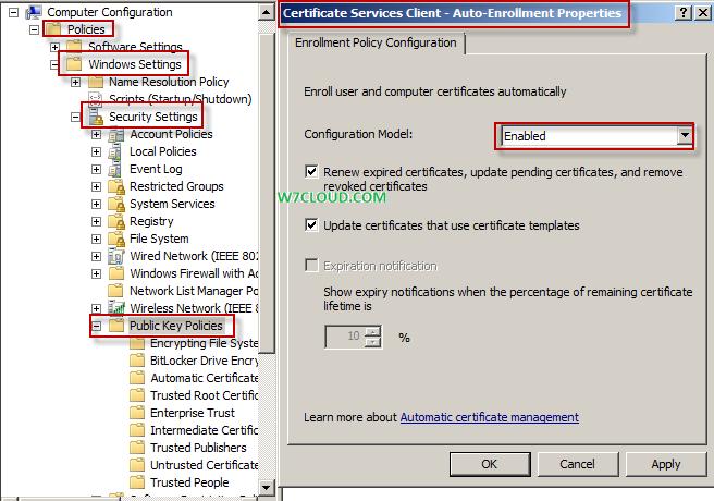 Certificate services client enabling autoenrollment