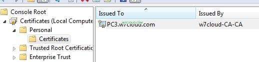 Computer certificate on MMC