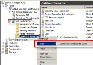 Issue certificate to active directory