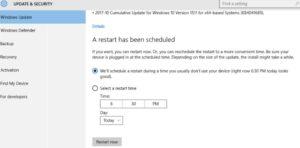 windows 10 update scheduled