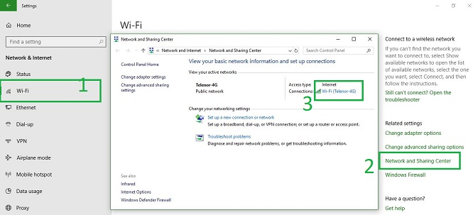 Network and sharing windows 10