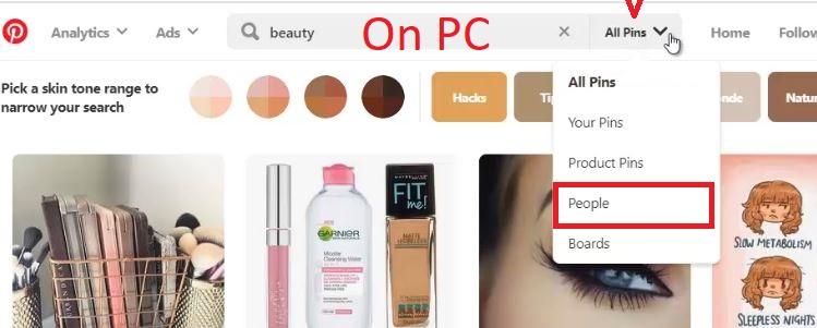 Pinterest profiles search
