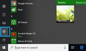 setting button on windows 10