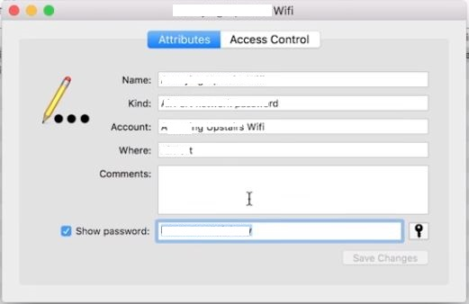 wifi saved password on MAC PC