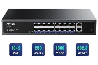 Aumox 18-Port Gigabit Network Unmanaged Switch
